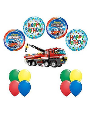 LEGO CITY Fire Engine Firetruck Birthday Party Fire Truck Balloon Decorating Supply 13 pc Kit