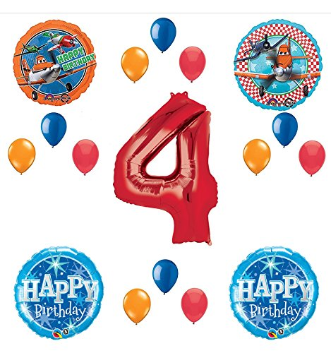Disney Planes Party Supplies 4th Birthday Balloon Bouquet Decorations (Red 4)