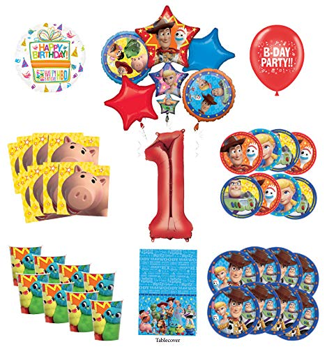 Toy Story 1st Birthday Party Supplies 16 Guest Decoration Kit with Woody, Buzz Lightyear and Friends Balloon Bouquet