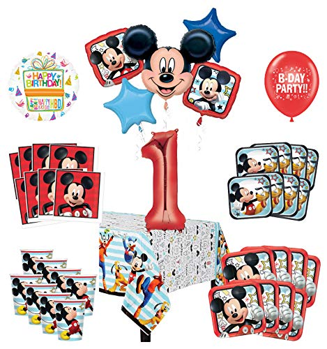 Mayflower Products Mickey Mouse and Friends 1st Birthday Party Supplies 8 Guest Decoration Kit and Balloon Bouquet