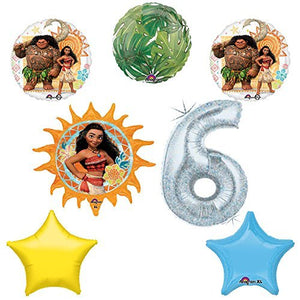 Disney Moana 6th Holographic Birthday Party Balloon Supplies Decoration Kit