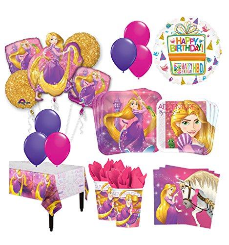 The Ultimate 16 Guest 94pc Princess Rapunzel Tangled Birthday Party Supplies and Balloon Decoration Kit