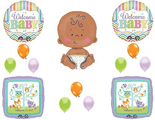 "WELCOME BABY 24"" CELEBRATE BABY Woodland Friends Baby Shower Balloons Decoration Supplies"