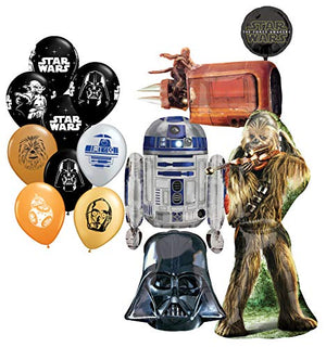 "Mayflower Products Star Wars Birthday Party Supplies Foil Balloon Bouquet Decorations and (9) 11"" Star Wars Latex"