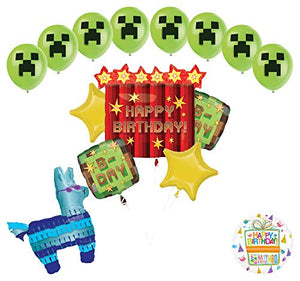 Miner Pixelated TNT Video Game Birthday Balloon Bouquet Decorations With LLama
