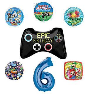 Video Gamers 6th Birthday Party Supplies and Balloon Decorations (Sonic, Super Mario, Pac Man and Slither.io)