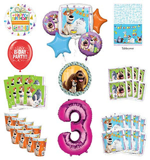 Secret Life of Pets 3rd Birthday Party Supplies 8 Guest kit and Balloon Bouquet Decorations - Pink Number 3