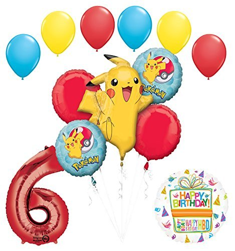 Pokemon 6th Birthday Party Supplies and Balloon Bouquet Decorations