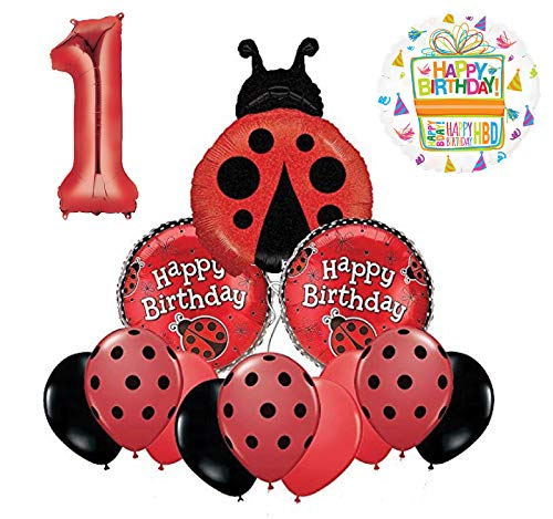 Mayflower Products Ladybug 1st Birthday Party Supplies Balloon Bouquet Decoration