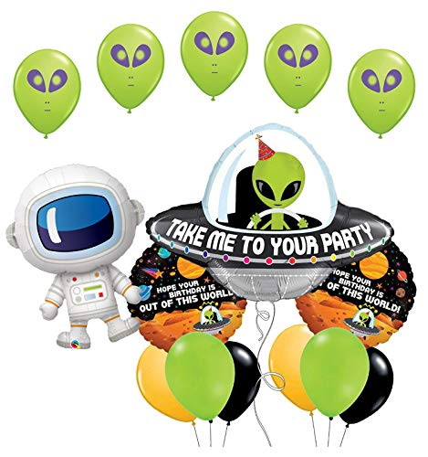 Space Alien and Adorable Astronaut Birthday Party Supplies Balloon Bouquet Decorations