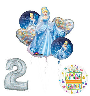 Cinderella 2nd birthday party supplies and princess balloon decorations
