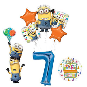 Despicable Me 3 Minions Stackers 7th Birthday Party Supplies and balloon Decorations