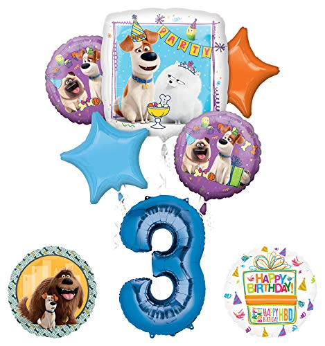 Mayflower Products Secret Life of Pets Party Supplies 3rd Birthday Balloon Bouquet Decorations - Blue Number 3