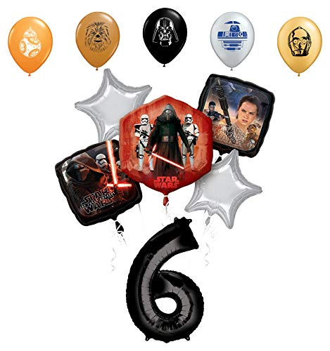 "Star Wars 6th Birthday Party Supplies Foil Balloon Bouquet Decorations with 5pc Star Wars 11"" Character Print Latex Balloons Chewbacca, Darth Vader, C3PO, R2D2 and BB8"
