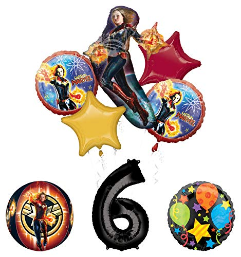 Mayflower Products Captain Marvel 6th Birthday Party Supplies Jubilee and Orbz Balloon Bouquet Decorations