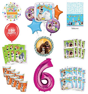 Secret Life of Pets 6th Birthday Party Supplies 8 Guest kit and Balloon Bouquet Decorations - Pink Number 6