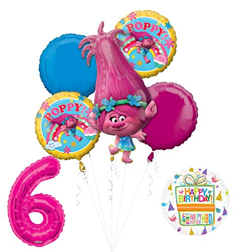 NEW TROLLS POPPY 6th Birthday Party Supplies And Balloon Bouquet Decorations
