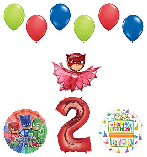 Mayflower Products PJ Masks Owlette 2nd Birthday Party Supplies Balloon Bouquet Decorations