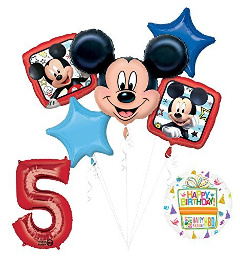 NEW Mickey Mouse 5th Birthday Party Supplies Balloon Bouquet Decorations