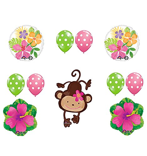 Mod Monkey Party Supplies Birthday or Baby Shower Girl Monkey Love Hibiscus and Polka Dots Balloon Bouquet Decorations