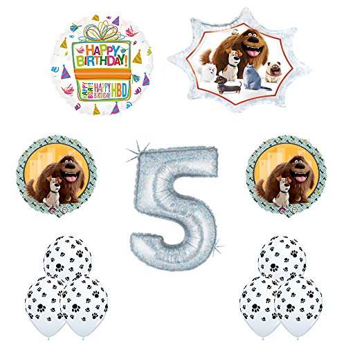 The Secret Life of Pets 5th Holographic Birthday Party Balloon Supply Decorations With Paw Print Latex
