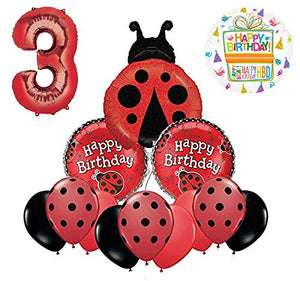 Mayflower Products Ladybug 3rd Birthday Party Supplies Balloon Bouquet Decoration