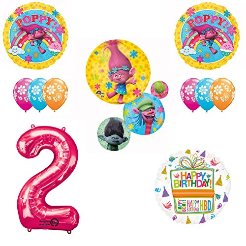 TROLLS Movie 2nd Happy Birthday Party Balloons Decoration Supplies Poppy Branch Movie