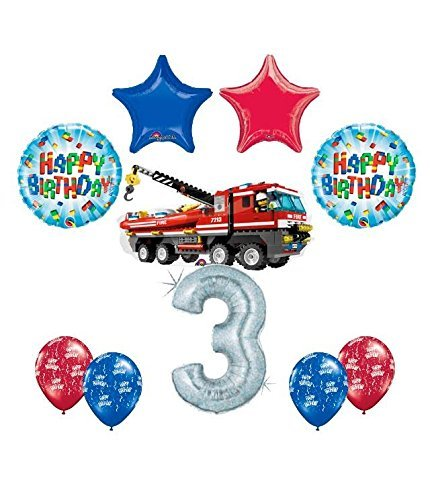 10 pc LEGO CITY Fire Engine Firetruck 3rd Birthday Fire TruckParty Balloon Decorating Supply Kit