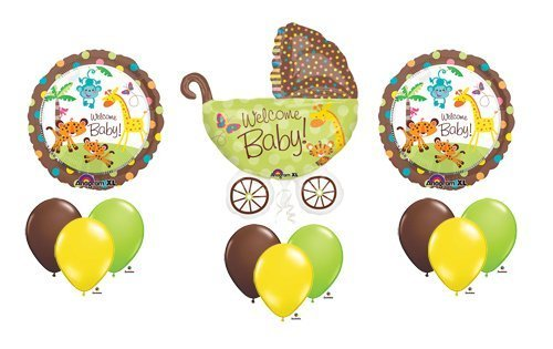 Welcome Baby Shower Stroller Jungle Animal Pram Balloon Bouquet Set
