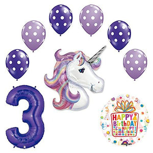 Lavender Unicorn Polka Dot Latex Rainbow 3rd Birthday Party Balloon supplies and decorations