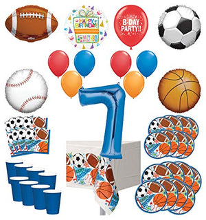 Mayflower Products Sports Theme 7th Birthday Party Supplies 8 Guest Entertainment kit and Balloon Bouquet Decorations - Blue Number 7