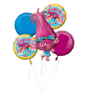 NEW TROLLS POPPY 5 pc Balloon Bouquet Decoration and Party Supplies