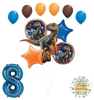 Jurassic World 8th Birthday Party Supplies Raptor Balloon Bouquet Decorations