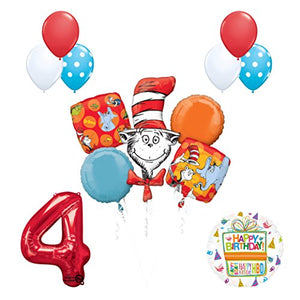13 pc Dr Seuss Cat in the Hat 4th Birthday Party Balloon Supplies and Decorations