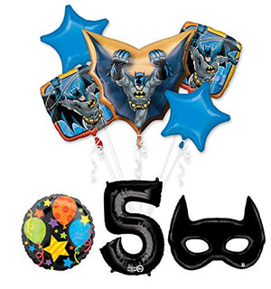 Mayflower Products Batman 5th Birthday Party Supplies and Bat Mask Balloon Bouquet Decoration