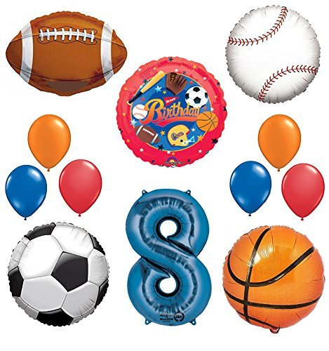The Ultimate Sports Theme 8th Birthday Party Supplies and Balloon Decorating Kit