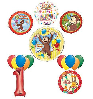 The Ultimate 16pc Curious George 1st birthday party Supplies and Balloon Decorations