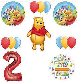 Winnie The Pooh 2nd First Birthday Party Supplies and Balloon Bouquet Decorations