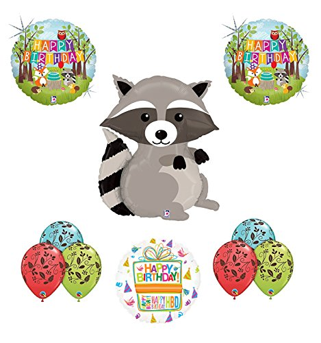 Woodland Creatures Birthday Party Supplies Baby Shower Raccoon Balloon Bouquet Decorations