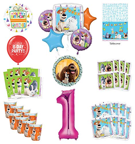Secret Life of Pets 1st Birthday Party Supplies 8 Guest kit and Balloon Bouquet Decorations - Pink Number 1