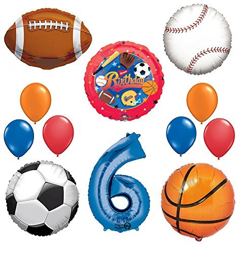 The Ultimate Sports Theme 6th Birthday Party Supplies and Balloon Decorating Kit
