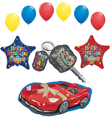 Sweet 16 Birthday Party Supplies Car Keys and Sports Car Balloon Bouquet Decorations