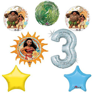 Disney Moana 3rd Holographic Birthday Party Balloon Supplies Decoration Kit
