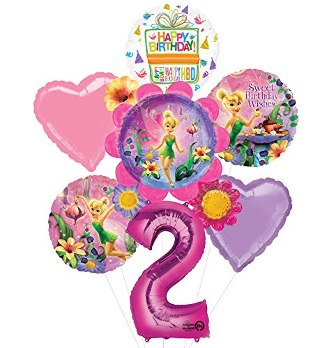 Tinkerbell 2nd Birthday Party Supplies Flower Cluster Balloon Bouquet Decorations