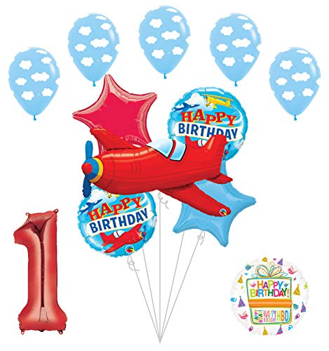 Airplane 1st First Birthday Party Supplies Vintage Plane Balloon Bouquet Decorations