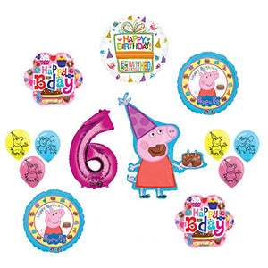 Peppa Pig 6th Birthday Party Balloon supplies and decorations kit