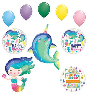 Mayflower Products Narwhal Party Supplies and Colorful Mermaid Birthday Balloon Bouquet Decorations