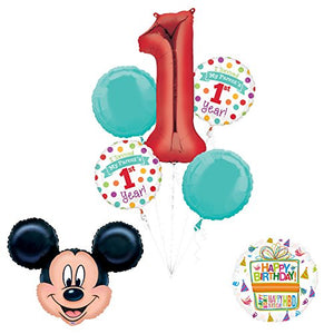 "Mickey Mouse ""I Survived My Parents First Year"" 1st Birthday Party Supplies and Balloon Decorations"