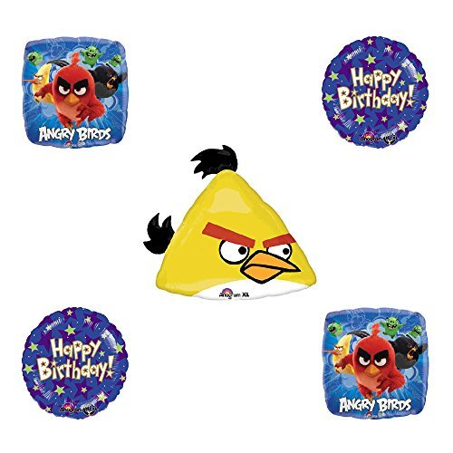 Angry Birds Yellow Bird Birthday Balloon Bouquet Decoration supplies