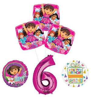 Dora the Explorer 6th Birthday Party Supplies and Balloon Bouquet Decorations